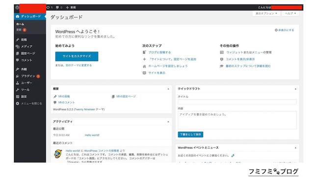 WordPress 管理者 画面
